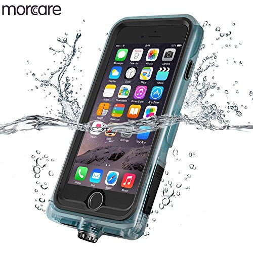 Morcare Waterproof Case with Belt Clip Armband, Protective Shockproof Full-sealed Transparent Cover IP68 Absolutely 100% Waterpeoof for Swimming Floating Apple iPhone 7-Black - Guarder Metal