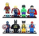 Super Hero 8 Minifigure Set Batman Spider-Man Superman Iron Man Capt. America Hulk Thor - New