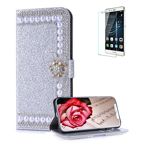 Funyye Pearl Rhinestone Silver Leather Case for Huawei P20 Lite,Stylish 3D Diamond Buckle Flip Snap Wallet Case with Stand Credit Card Holder Slots for Huawei P20 Lite + Free Screen Protector