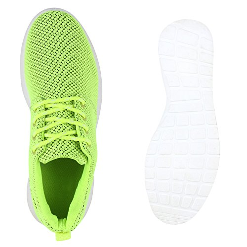 Flandell Neongelb Unisex Übergrößen Amares Sneaker Stiefelparadies Damen Sportschuhe Freizeit Turnschuhe Herren Profilsohle Glitzer Schnürer Schuhe Laufschuhe RwngO1q