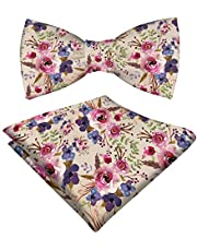 RADANYA Mens Floral Printed Bow Tie With Hanky Pure Satin