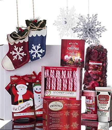 Potpourri Mug - Christmas Gift Basket for Women: Ornaments, Tea, Candy Cane, Mug, Hot Chocolate, Hand Cream, Potpourri Set for Her