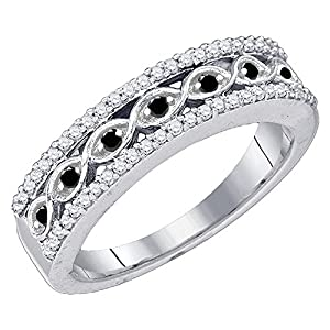 0.45 Carat (ctw) 10K White Gold Round Black & White Diamond Ladies Wedding Band 1/2 CT (Size 7.5)