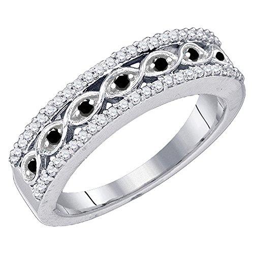 DazzlingRock Collection 0.45 Carat (ctw) 10K White Gold Round Black & White Diamond Ladies Wedding Band 1/2 CT (Size (Black And White Diamond Band)