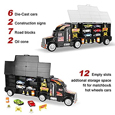 AOKESI Transport Car Carrier Truck Toy Great Gift for Boys Girls Age of 3-10 Year Old (Includes 6 Toy Cars, 2 Construction Signs,7 Road Blocks, 2 Oil Cones, 1 City Map and 1 Dice): Toys & Games