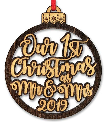 Our First Christmas As Mr & Mrs Holiday Item Ornament Gift for Newlywed Couples 1st Tree Decoration Engraved Custom Rustic Wood Gifts New House Bride Groom Bridal Shower Favor (Christmas Gifts 1st Married Couple)