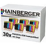 30 Druckerpatronen mit Chip für Canon Pixma ip4850 ip4950 MX885 MG5150 MG5250 MG6150 MG8150 MX885 ip 4850 MG 5150 5250 6150 8150 ersetzt PGI-525BK CLI-526BK CLI-526C CLI-526M CLI-526Y (kompatible Druckerpatronen - mit Chip und Füllstandanzeige) sie bekommen 6 x schwarz (525BK) 6 x schwarz (526BK) 6 x blau (526) 6 x rot (526M) 6 x gelb (526Y)