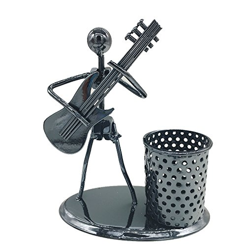 Iron Penholder,ABURA Creative Musical Instruments Design Iron Penholder Decorations Home Ornaments Minimalist Modern Practical Small Gifts Crafts (Guitar) (Musical Instrument Decorations)