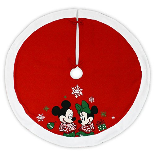 Disney 48 Inch Christmas Tree Skirt - Mickey Mouse and Minnie Mouse