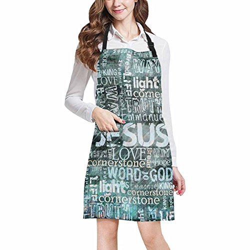 InterestPrint Religious Christian Jesus Quotes Chef Aprons Professional Kitchen Chef Bib Apron with Pockets Adjustable Neck Strap, Plus Size