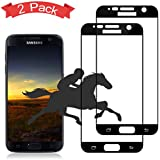[2-Pack] Galaxy S7 Black Screen Protector,Auideas 9H Tempered Glass Screen Protector Anti-Scratch, Anti-Fingerprint, Anti-Bubble,Full Screen Coverage for Samsung Galaxy S7 (Black).