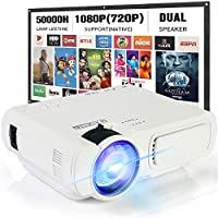 """Mini Projector,SeeYing 3600Lux Portable Projector,1080P and 170"""" Display Supported,Compatible with TV Stick,HDMI,VGA,USB,TV,Laptop,DVD (T5-White)"""