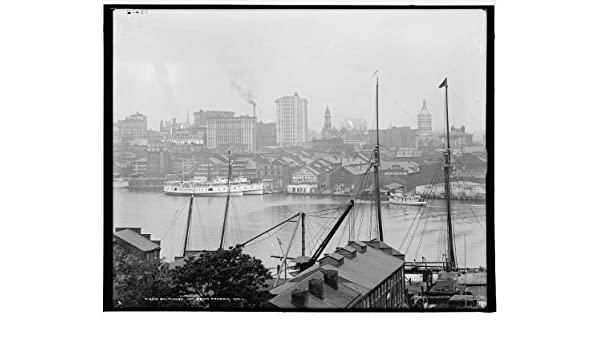 Baltimore,Federal Hall,harbors,boats,ships,water bodies,Hill,Maryland,MD,1900
