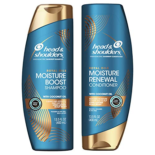 Head and Shoulders Shampoo and Conditioner Kit, Anti Dandruff Treatment, Royal Oils Collection with Coconut Oil, for Natural and Curly Hair, 13.5 oz