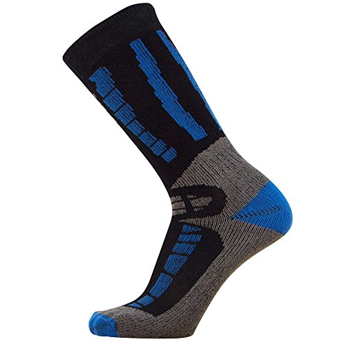 Youth Ski Socks - Merino Wool Children Skiing / Snowboard Sock - Junior OTC Ski Socks (S/M, Black/Blue) - Kid Merino Yarn