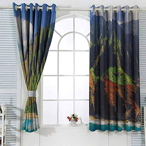Bedroom Curtains Hawaiian,Aerial View of Na Pali Coast Kauai Hawaii Mountain Cliff Seacoast Scenic Photo Green Brown The shade room darkens the bedroom's insulated curtain ring W55