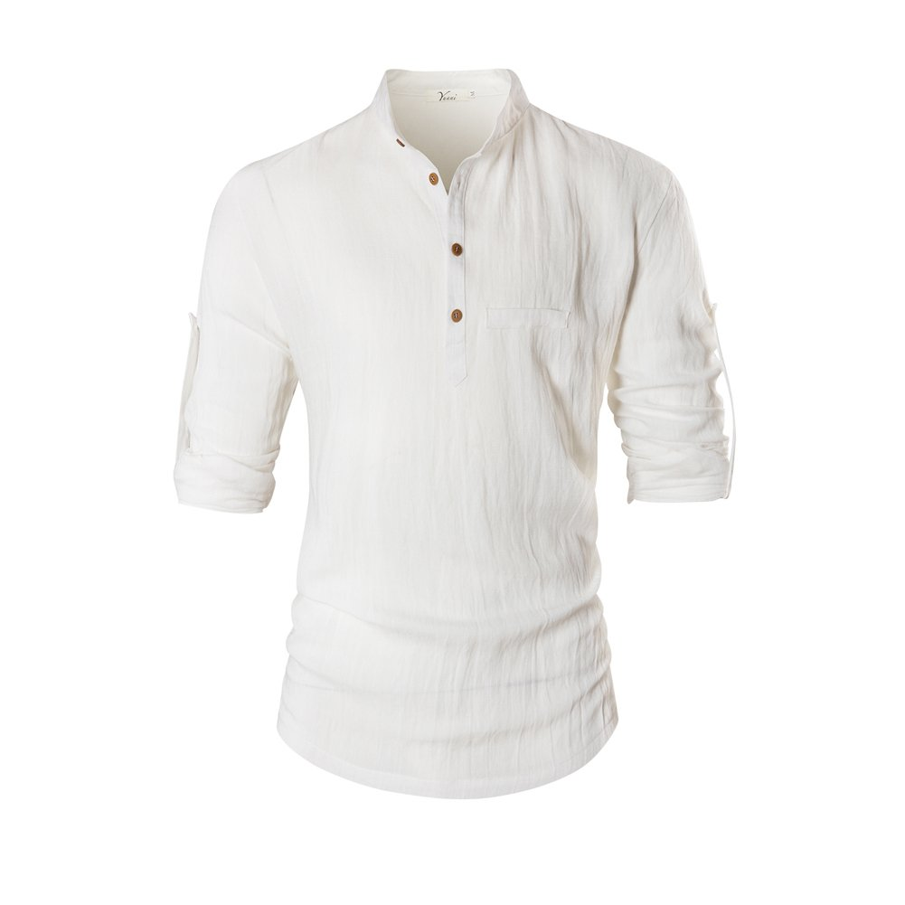 ThyWay Fashion Men Henley Neck Rollup Sleeve Daily Look Linen Shirts White)