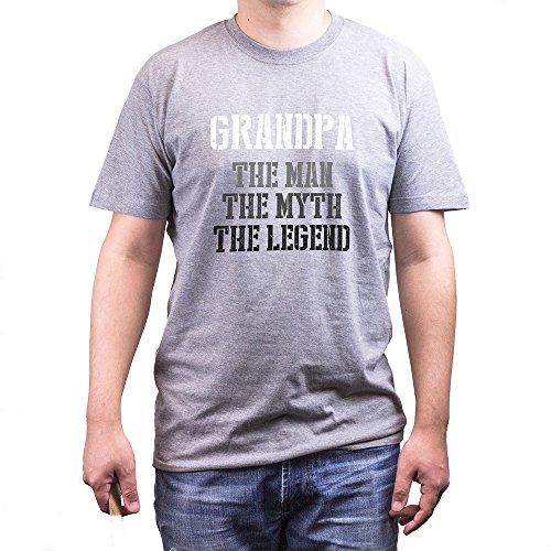 Grandpa Man Myth Legend Grey T-shirts for Grandfathers Father's Day Gifts Ideas (UNISEX-M) (Grandpa Birthday Gift Ideas)