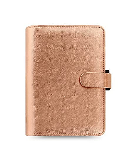 Filofax Saffiano PU-Leather Organizer Agenda Weekly Planner Refillable Calendar with DiLoro Jot Pad Refills (Personal 2019, Rose Gold)