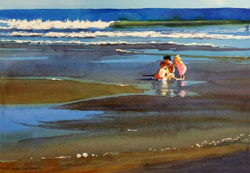 bright-and-beautiful-giclee-print-of-watercolor-seascape-showing-children-playing-in-the-sand-by-the