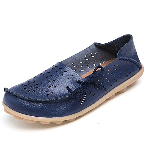 Maybest Women Hollow Out Work Comfort Leather Lace-Up Loafer Flats Pumps ( Dark blue 9 B (M) US )