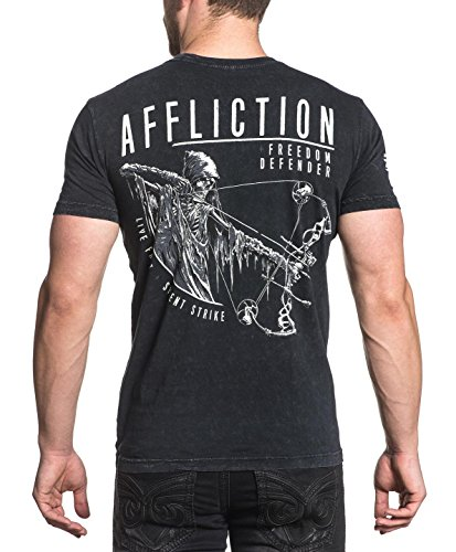 Cheap Affliction Men's Freedom Defenders Pierced Tee Shirt Black Lava Wash hot sale