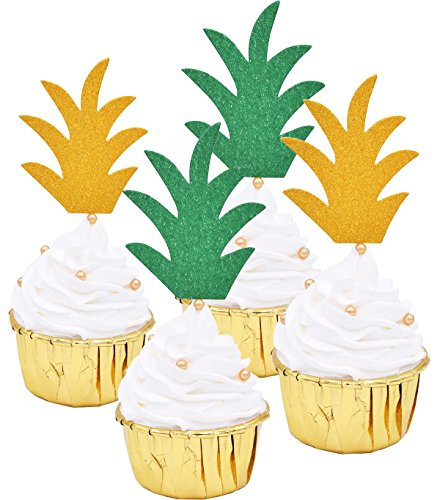 Zealax Pineapple Top Donut Topper Picks Glitter Hawaiian Luau Party Cupcake Decorative Toppers, Assorted Gold and Green Set of 24