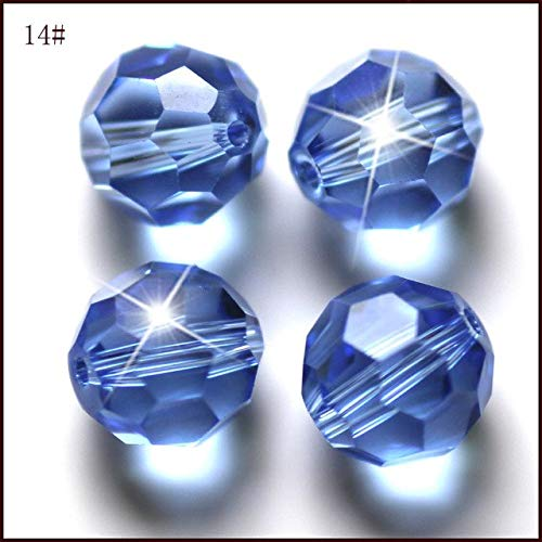 Pukido 50pcs Padparadscha Crystal Fashion DIY Bead Create Your Style Jewelry Glass Bead 8mm Fringe Round Shape AAA Quality - (Color: lt Sapphire, Item Diameter: 8mm)