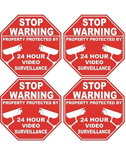 4 Pcs Sublime Popular Video Surveillance Stickers Signs Premises Monitored 24Hr Warning Windows Decals Size 3  X 3