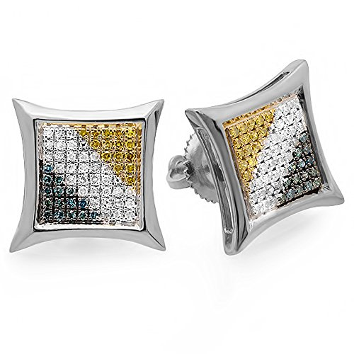 ion 0.33 Carat (ctw) Round Blue, White, Yellow Diamond Kite Shape Stud Earrings 1/3 CT, Sterling Silver ()