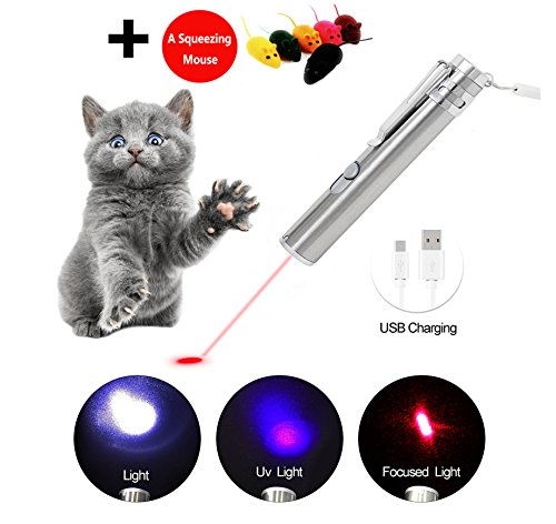 Cat Laser Pointer Interactive Dog Toy USB Rechargeable – 3 Mode Red Dot | Flashlight | UV Light | Pet Training Exercise Tool with extra bonus of a Squeaky Mouse (Rechargeable Laser Pointer)