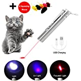 Cat Laser Pointer Interactive Dog Toy USB Rechargeable – 3 Mode Red Dot | Flashlight | UV Light | Pet Training Exercise Tool with extra bonus of a Squeaky Mouse