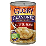 Glory Foods Seasoned Southern Style Butter Beans 15oz Can (Pack of 6)