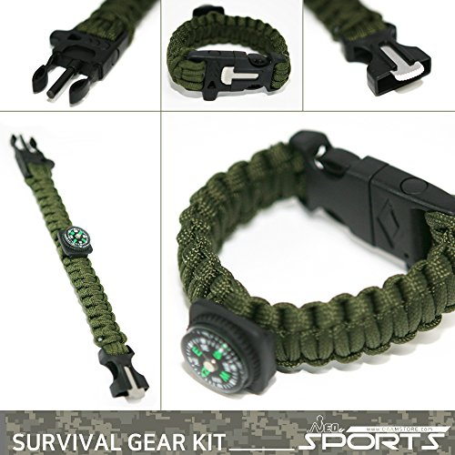 NeoSports-Survival-gear-kit-with-compass-fire-starter-emergency-blanket-multi-function-tool-rain-coat-water-proof-cell-pack-first-AID-kit-paracord-bracelet-cap-light-9in1