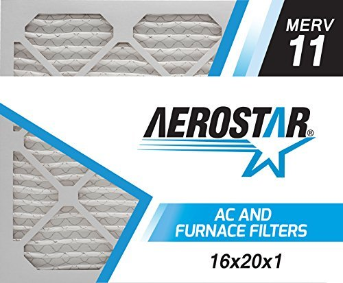 Aerostar Pleated Air Filter, MERV 11, 16x20x1, Pack of 6, Made in the USA