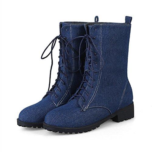 de con mujer pierna media cordones Plataforma oscuro de Azul clásicos vaquero mezclilla para Agodor a Botas plana Zapatos qB0CnwxF