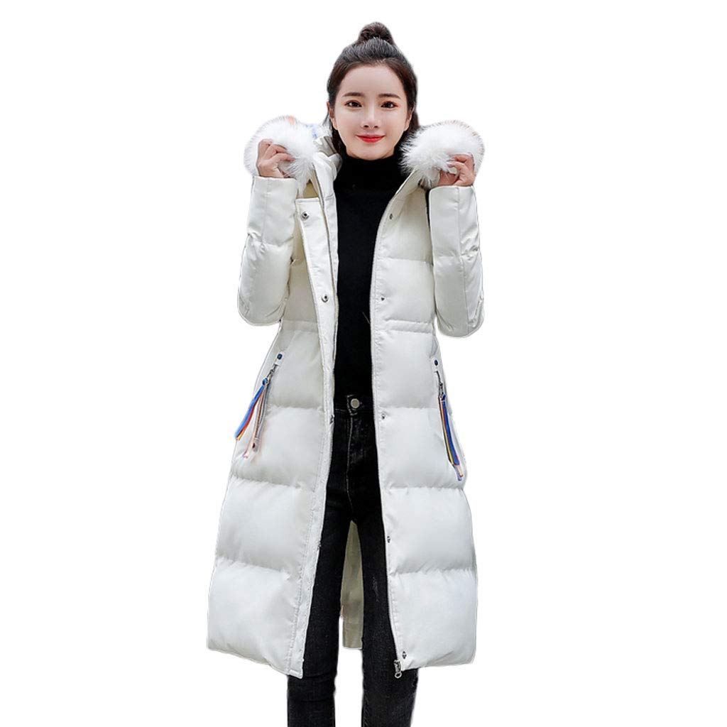 White Women's Fashion White Hooded Down Cotton Coat Winter Long Coat Warm LongSleeved Zipper Coat (color   White, Size   XL)