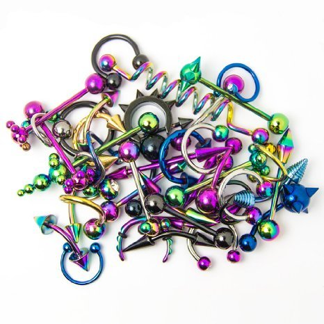 Lot-of-30pc-Body-Jewelry-variaty-pack-Anodized-Titanium-Bellylipearnippletongue-Randomly-stykes-By-Eg-Gifts