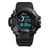 Mens Sport Watches Boys Outdoor Waterproof Shock Resistant LED Multifunctional Wrist Watches Black