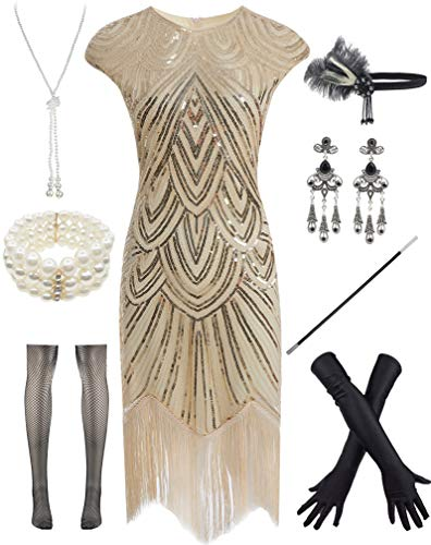Women 1920s Vintage Flapper Fringe Beaded Gatsby Party Dress with 20s Accessories Set Beige]()