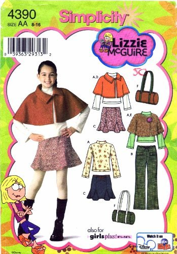 Knit Godet Skirt - Simplicity 4390 Lizzie McGuire Girls Pants Skirt Capelet Bag Knit Top Sewing Pattern Size 8 - 16