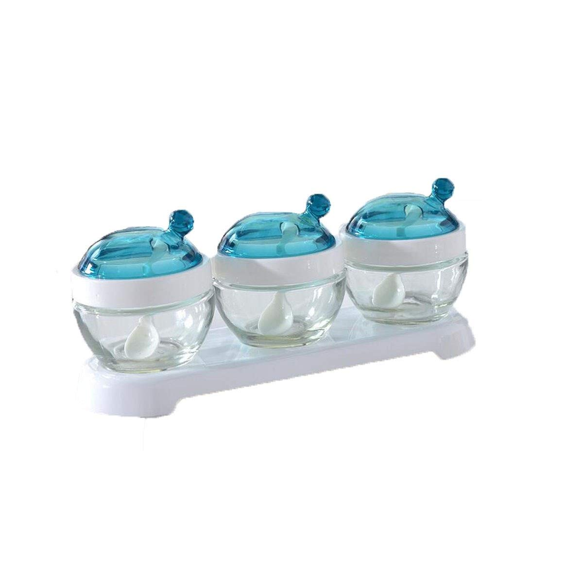 MINGRUIGONGMAO Condiment Dispenser, Glass Seasoning Jar Set, Can Be Loaded With Various Seasonings. Kitchen Support Plush toys (Color : Blue) by MINGRUIGONGMAO