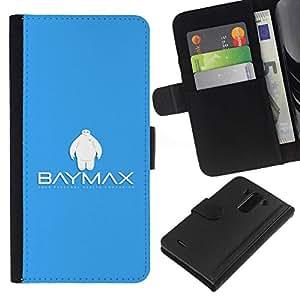 // PHONE CASE GIFT // Moda Estuche Funda de Cuero Billetera Tarjeta de crédito dinero bolsa Cubierta de proteccion Caso LG G3 / Bay Max Robot /