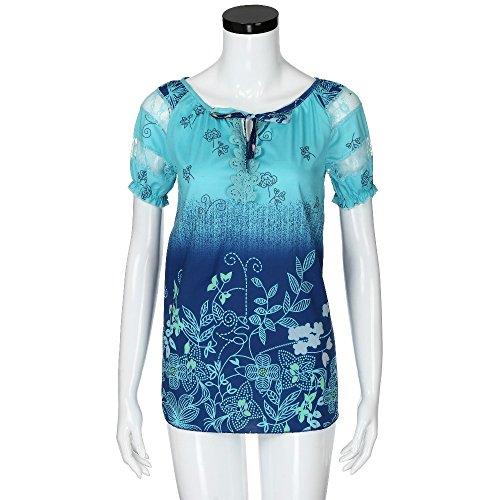 Fleurs Manches Courtes Bleu Col Rond Chemise Femme Chemisier Body KaloryWee wYx7nHtn6