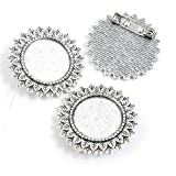 190 Pieces Antique Silver Tone Jewelry Making Charms Crafting Beading Craft M8IE6 Pinback Brooch Cabochon Blank 20mm
