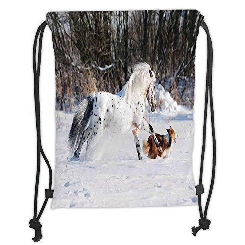 Custom Printed Drawstring Backpacks Bags,Horses,Legendary Appaloosa Pony and Sable Border Collie Runs Gallop in Winter Photo Print,Multicolor Soft Satin,5 Liter Capacity,Adjustable String Closure