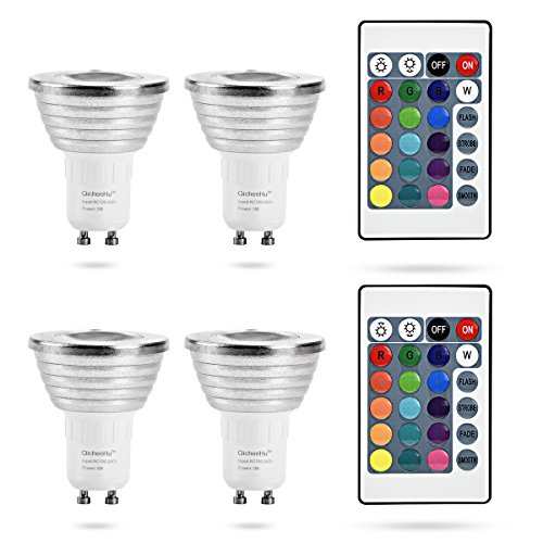 Qichen Hu dimming RGB Color Lights GU10 lamp 3W RGB LED 24 Key Remote Control Lights Atmosphere Lights Party Festive Festivals Christmas Lights 16 Color Lights (4 Packs)