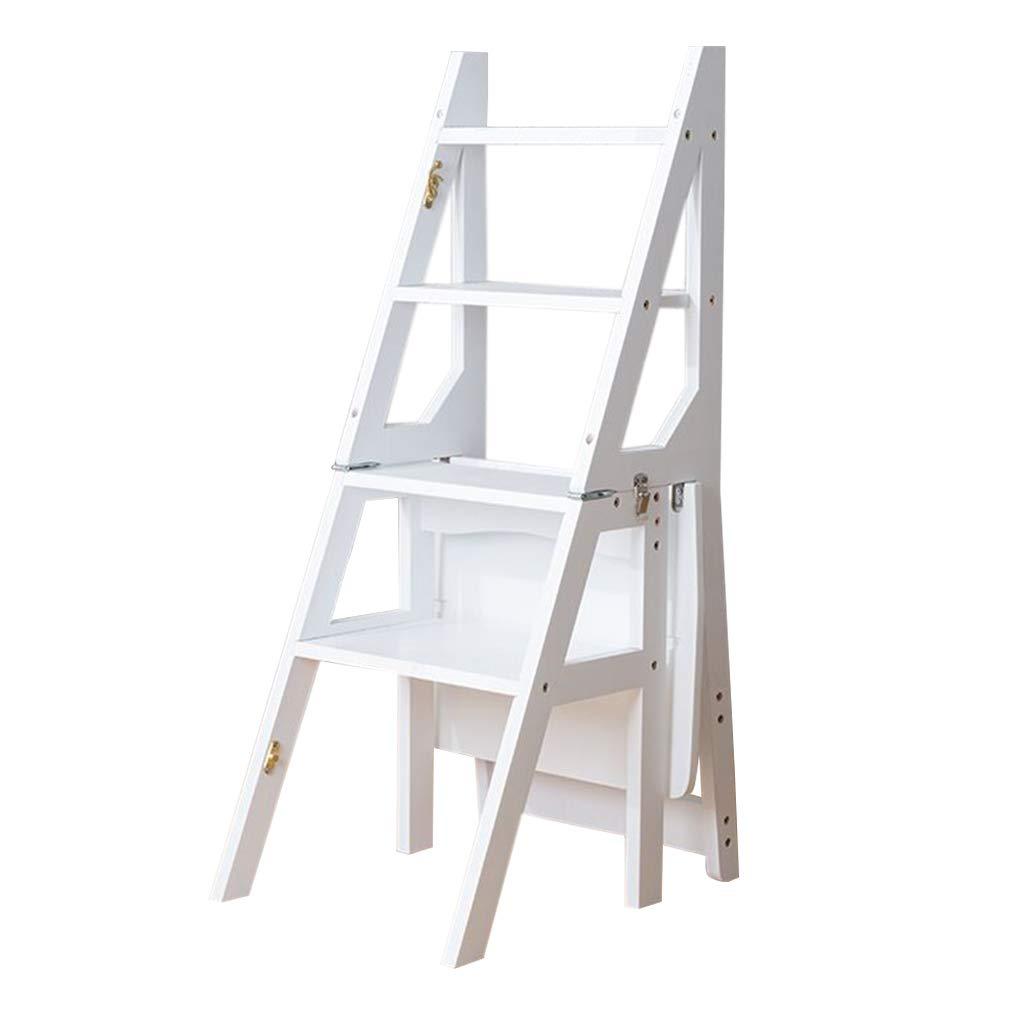 木製ステップラダー ソリッドウッド脚立 多機能折りたたみ階段椅子 大人と子供のための家庭用4トレッドステップ 最大荷重150kg B07QDFHZC4 White