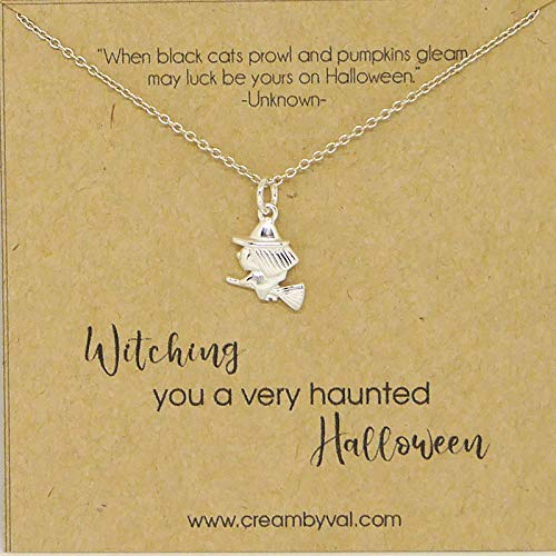 (Halloween Witch Sterling Silver Necklace - 17'')
