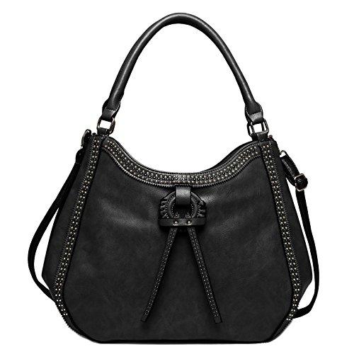 Zahara Women Handbags Large Designer Ladies Tote Purse Big Top Handle Hobo Bags Fashion PU Leather Shoulder Satchel Black